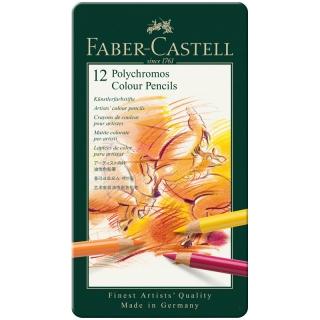 Цветные карандаши Faber-Castell Polychromos профессиональные, набор 12 цветов