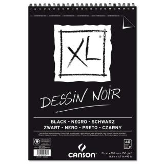 Альбом для графики Canson Xl Black 150г/кв.м 21*29.7см, 40листов, чёрная бумага спираль, по короткой стороне