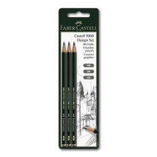 Чернографитные карандаши FABER-CASTELL 9000 3 шт. набор, твердость HB, 2B, 4B