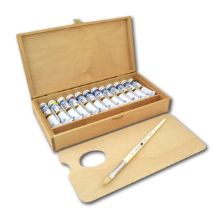 Набор масляных красок «Ладога» НЕВСКАЯ ПАЛИТРА в деревянном пенале, 12 цветов по 18 мл
