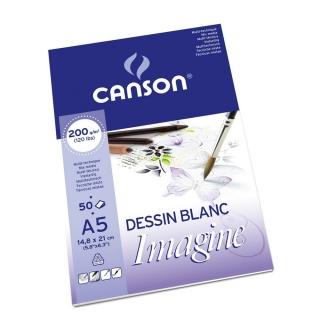 Альбом для графики Canson Imagine 200г/кв.м 14.8*21см 50листов Мелкое зерно склейка по короткой стороне