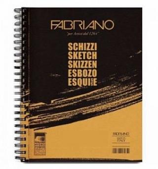 Блокнот для скетчей А5 Schizzi Fabriano 14.8х21см, 60 листов, 90г на спирали