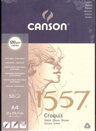 Альбом для графики Canson 1557 Dessin Ja 120г/кв.м 21*29.7см 50листов Малое зерно склейка по короткой стороне