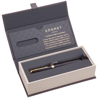 "Ручка-роллер Parker ""Sonnet Matte Black GT"" черная, 0,8мм, подарочная уп."