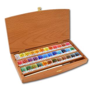 Подарочный набор акварели «Белые ночи» НЕВСКАЯ ПАЛИТРА в шкатулке, 36 цветов и кисть