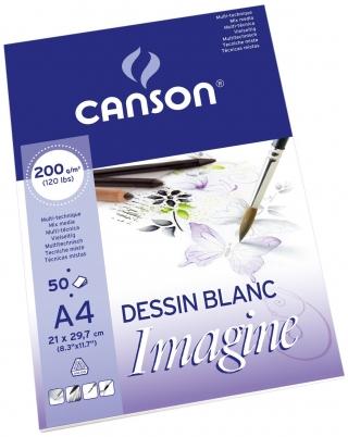 Альбом для графики Canson Imagine 200г/кв.м 21*29.7см 50листов Мелкое зерно склейка по короткой стороне