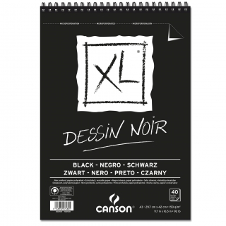 Альбом для графики Canson Xl Black 150г/кв.м 29.7*42см 40листов чёрная бумага спираль по короткой стороне