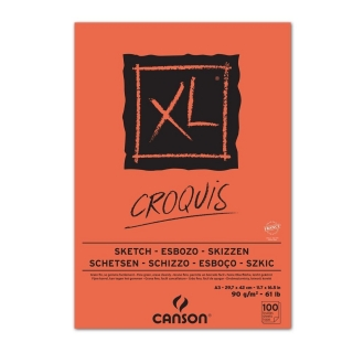 Альбом для графики Canson Xl 90г/кв.м 29.7*42см 100листов Слоновая кость склейка по короткой стороне