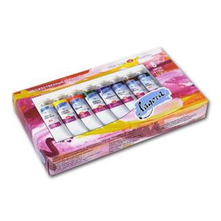 Акриловые краски «Ладога» НЕВСКАЯ ПАЛИТРА для рисования и декора, набор в тубах, 8 цветов по 18 мл