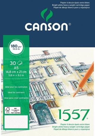 Альбом для графики Canson 1557 Dessin Ja 180г/кв.м 14.8*21см 30листов Малое зерно склейка по короткой стороне