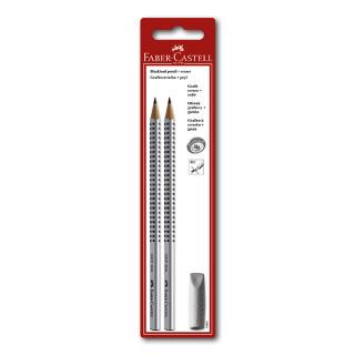 Простые карандаши FABER-CASTELL  2 шт. в наборе GRIP 2001, ластик-колпачок, твердость HB, B