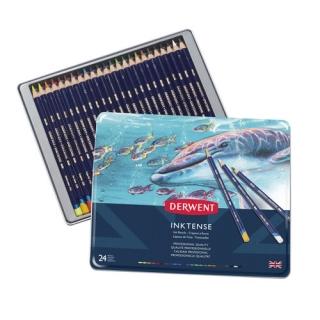 Набор акварельных карандашей Derwent Inktense 24 цвета, металлический пенал