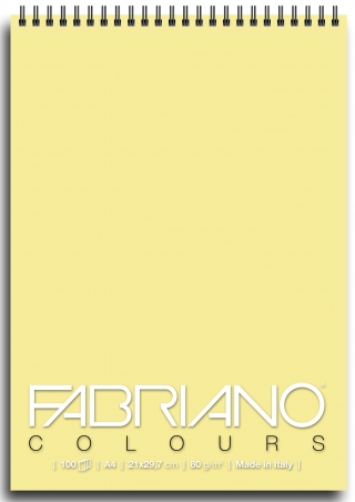 Блокнот для зарисовок Fabriano Colours 80г/м.кв 21x29,7см Желтый 100л спираль по короткой стороне