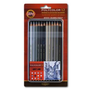 Художественные цветные карандаши Koh-I-Noor POLYCOLOR «Grey Line», 12 серых оттенков