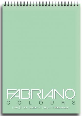 Блокнот для зарисовок Fabriano Colours 80г/м.кв 21x29,7см Аквамарин 100л спираль по короткой стороне