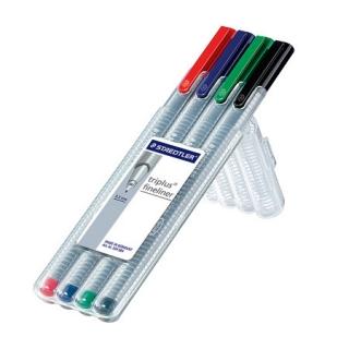 Набор капиллярных ручек Triplus, 4 цвета, пенал-подставка