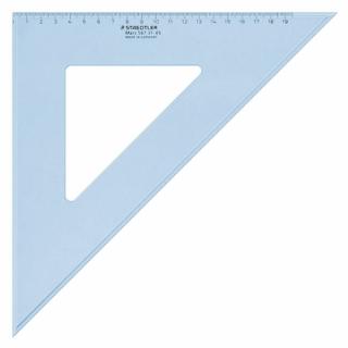 Угольник Mars 45/45, 32 см, пластик, прозрачный голубой