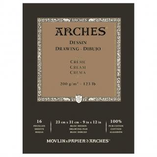 Блок для графики Arches Traditionnel 200г, 23*31см 16л Среднее зерно, склейка
