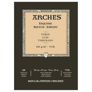Блок для графики Arches Esquisse 105г/кв.м 23*31см 20листов Верже склейка по 1 стороне