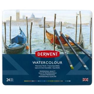Акварельные карандаши Derwent WaterColour, 24 цвета, в металлической коробке