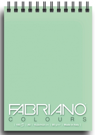 Блокнот для зарисовок Fabriano Colours 80г/м.кв 10,5x14,8см Аквамарин 100л спираль по короткой стороне