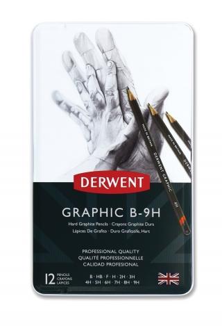 Набор чернографитных карандашей Derwent Graphic Hard 12шт B-9H, металлический пенал