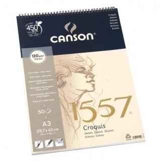 Альбом для графики Canson 1557 Dessin Ja 120г/кв.м 29.7*42см 50листов Малое зерно спираль по короткой стороне