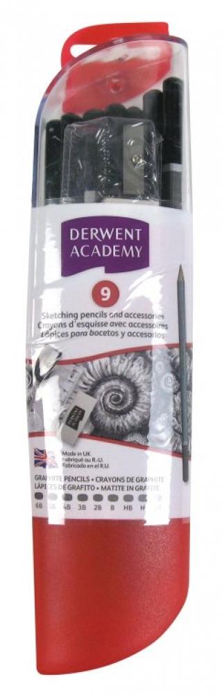 Набор чернографитных карандашей Derwent Academy 9шт., линейка, ластик ,точилка в тубусе