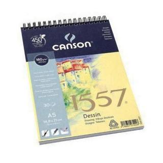 Альбом для графики Canson 1557 Dessin Ja 180г/кв.м 14.8*21см 30листов Малое зерно спираль по короткой стороне
