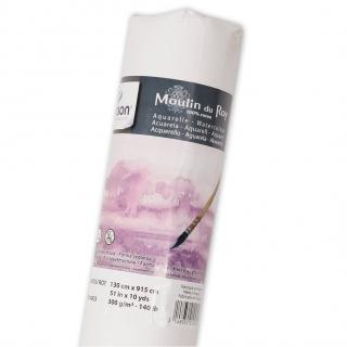 Бумага для акварели Canson Moulin du Roy 300г/кв.м (хлопок) 1.3*9.15м Сатин цвет натуральный белый в рулоне
