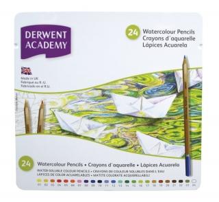 Набор акварельных карандашей Derwent Academy 24 цвета, металлический пенал