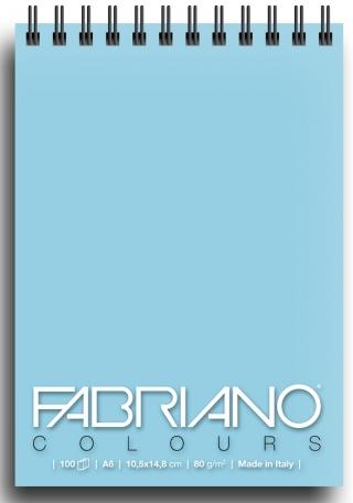 Блокнот для зарисовок Fabriano Colours 80г/м.кв 10,5x14,8см Селеста 100л спираль по короткой стороне