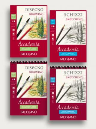 Блокнот для зарисовок Fabriano Accademia 200г/м.кв 29,7x42см мелкозернистая 30л спираль по короткой стороне