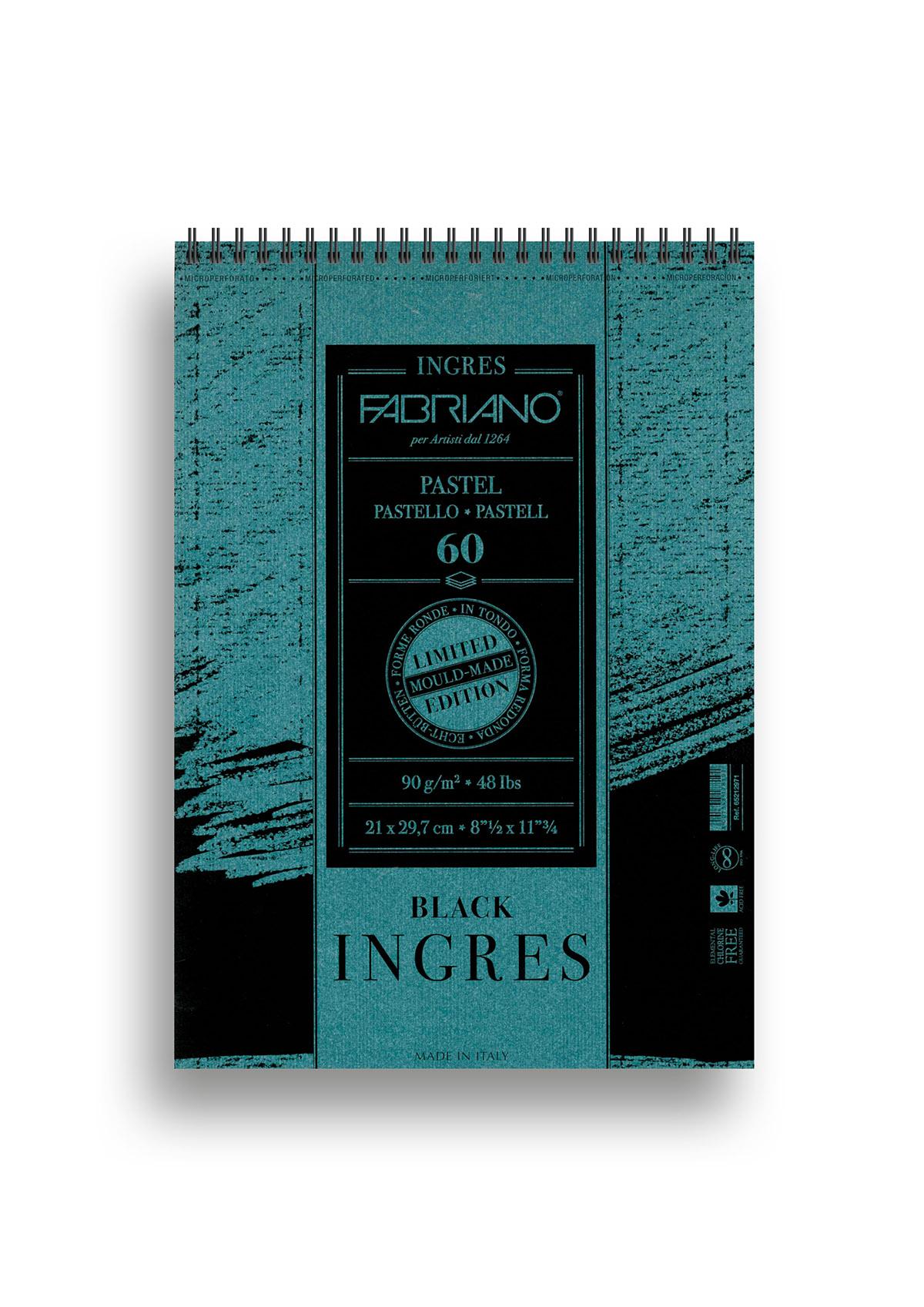 Альбом для пастели Fabriano Ingres Limited Edition 90г/м.кв 21x29,7см черная бумага 60л спираль по короткой стороне