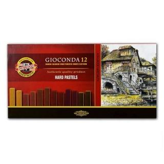 Сухая твёрдая пастель Gioconda KOH-I-NOOR, палитра коричневого, 12 цветов