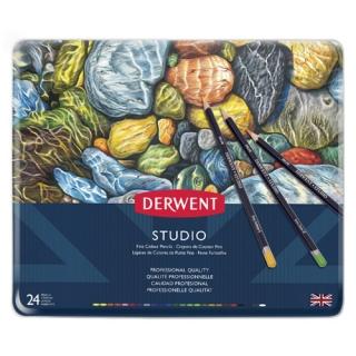 Набор цветных карандашей Derwent Studio 24 цвета, металлический пенал