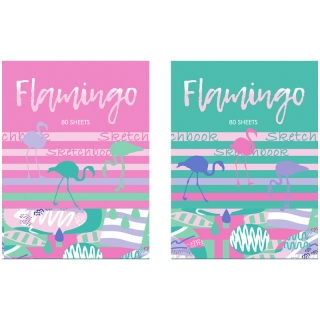 """Скетчбук 80л. А5 7БЦ BG """"Flamingo"""", матовая ламинация,выборочный лак, розовый блок"""