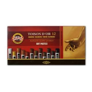 Пастель сухая мягкая Toison D-or KOH-I-NOOR палитра коричневого, 12 цветов