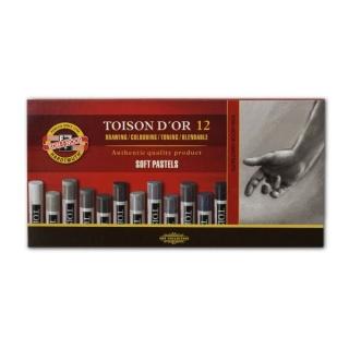 Пастель сухая мягкая Toison D-or KOH-I-NOOR палитра серого, 12 цветов