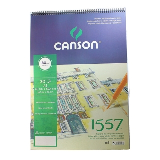 Альбом для графики Canson 1557 Dessin Ja 180г/кв.м 42*59.4см 30листов Малое зерно спираль по короткой стороне