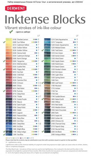 Набор акварельных блоков Derwent Inktense 12 цветов, металлический пенал