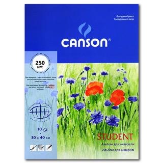 """Альбом для акварели CANSON """"Student"""", среднезернистая бумага 250 г/м, 30х40, 10 л"""