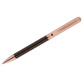 """Ручка шариковая Delucci """"Artista"""", синяя, 1,0мм, корпус медь/чёрный, поворот., подар.уп."""