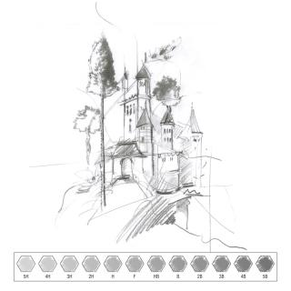Чернографитные карандаши Faber-Castell 9000, 12 шт. набор, твердость 5B - 5H
