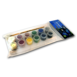 Набор красок Аквагрим Аква-Колор, краска 6 классических цветов, блестки 6 цветов и кисть