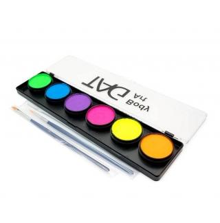 Набор профессиональных красок для аквагрима TAG, 6 неоновых цветов по 10г, 2 кисти