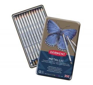 Набор цветных карандашей Derwent Metallic 12 цветов, в металлическом пенале