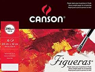 Папка с бумагой для масла Canson Figueras 290г/кв.м 24*32см зерно холста, 6 листов