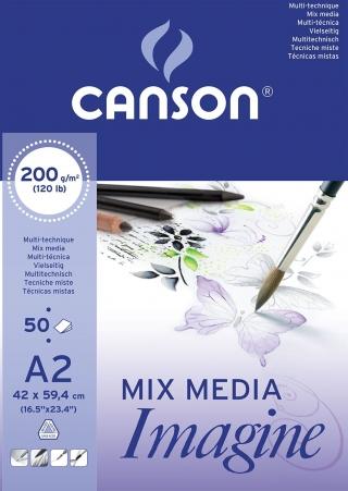 Альбом для графики Canson Imagine 200г/кв.м 42*59.4см 50листов Мелкое зерно склейка по короткой стороне