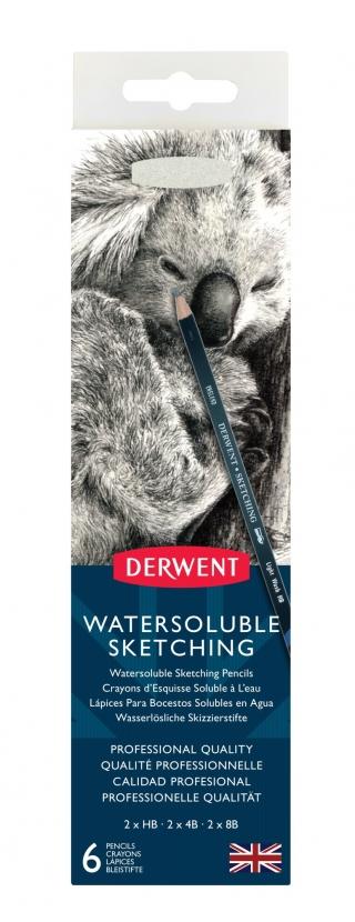 Набор чернографит. водорастворимых карандашей Derwent Sketching 6 шт+точилка